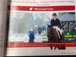 Allison featured in Dressage Today